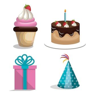 Verjaardagspictogrammen feestviering