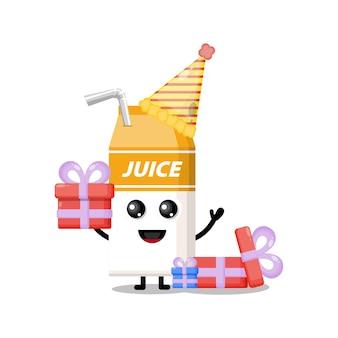 Verjaardagssapdoos schattig karakter mascotte