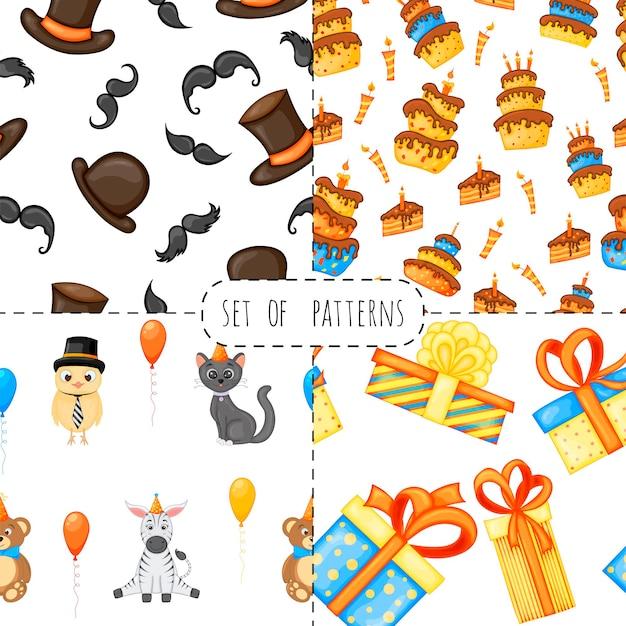 Verjaardagsset met naadloze veelkleurige patronen op een witte achtergrond. cartoon-stijl. vector.