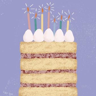 Verjaardagstaart achtergrond in paarse toon