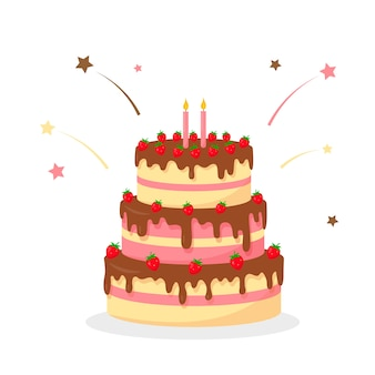 Verjaardagstaart met aardbeien en kaarsen geïsoleerd op witte achtergrond feestelijk zoet dessert of bakkerij