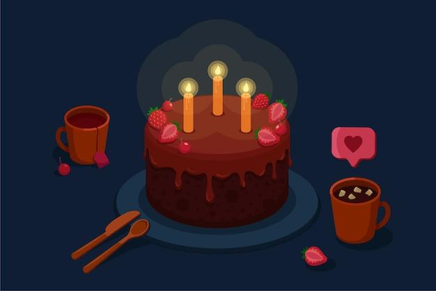 Verjaardagstaart met kaarsen en bessen voor de vakantie. kopjes thee en cacao met marshmallows. Premium Vector