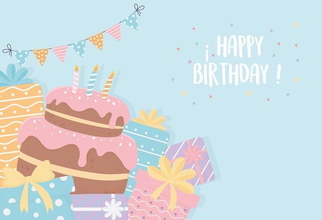 Verjaardagstaart met kaarsen presenteert wimpels lint feestdecoratie