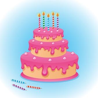 Verjaardagstaart met vijf brandende kaarsen geïsoleerd op blauwe achtergrond vector tekening illustratie