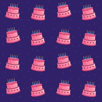 Verjaardagstaart naadloze patroon achtergrond