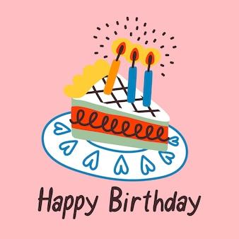Verjaardagstaart op roze achtergrond met gelukkige verjaardag zin. feestviering