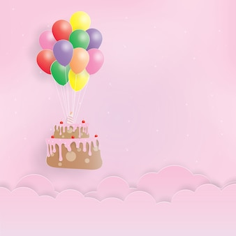 Verjaardagstaart opknoping met ballonnen, gelukkige verjaardag, papier kunst, papier knippen, ambachtelijke vector, ontwerp