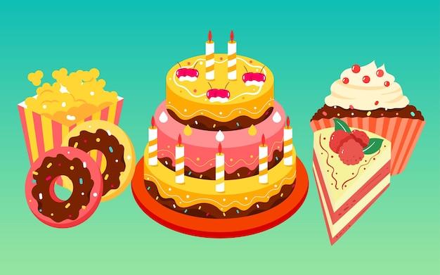 Verjaardagstaart verjaardag geïllustreerd vakantiewensen voedselposter