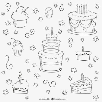 Verjaardagstaarten doodles