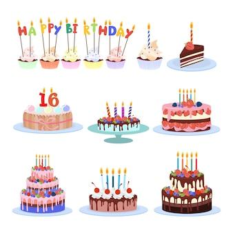 Verjaardagstaarten instellen. kleurrijke en smakelijke taarten en cupcakes.
