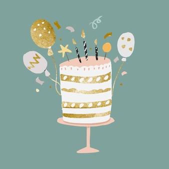 Verjaardagstaartsticker, schattige goud- en pastelvector