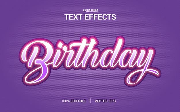Verjaardagsteksteffectvectoren, set elegant roze paars abstract verjaardagsteksteffect