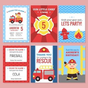 Verjaardagsuitnodiging, brandbestrijders thema