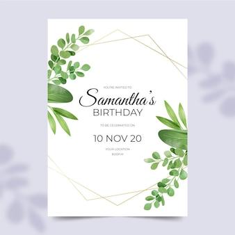 Verjaardagsuitnodiging met bladeren versieringen
