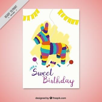Verjaardagsuitnodiging met een piñata