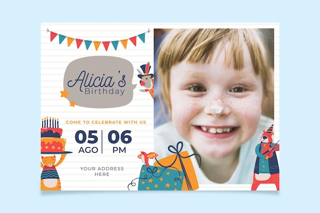 Verjaardagsuitnodiging met fotoconcept