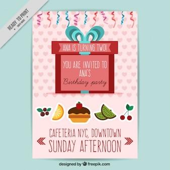 Verjaardagsuitnodiging met fruit en rode gift