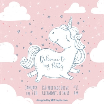 Verjaardagsuitnodiging met schattige unicorn schets