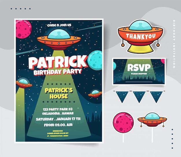 Verjaardagsuitnodiging met vliegende ruimte en planeet