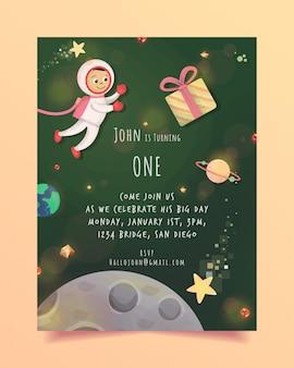 Verjaardagsuitnodiging ruimtethema gratis
