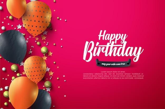 Verjaardagsviering achtergrond met 3d ballonnen
