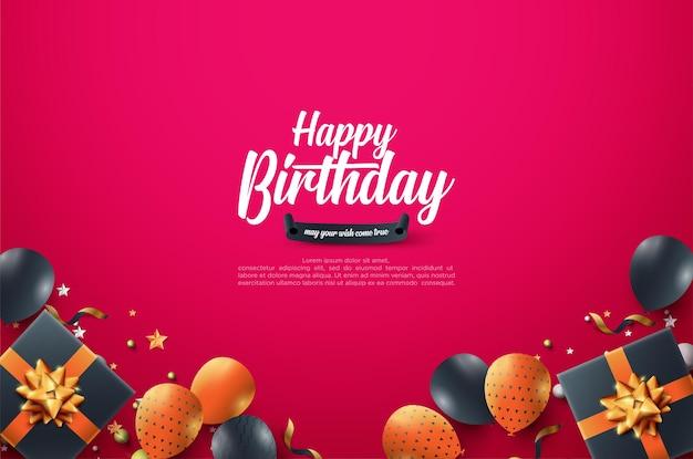 Verjaardagsviering achtergrond met gekleurde ballonnen