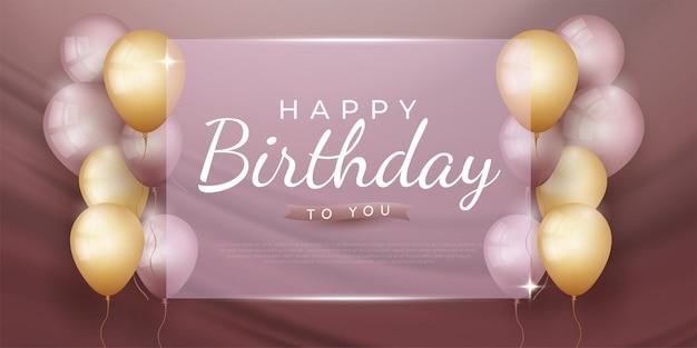 Verjaardagsviering achtergrond met realistische ballonnen op vierkant glas