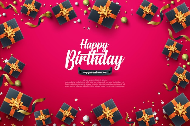 Verjaardagsviering achtergrond met zwarte geschenkdoos