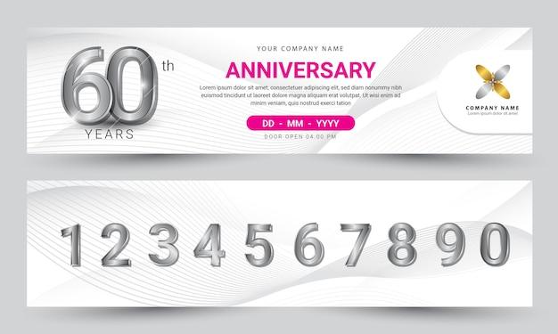 Verjaardagsviering banner geometrisch ontwerp met realistische cijfers premium vector