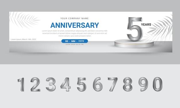 Verjaardagsviering bannerontwerp met realistisch podium en cijfers premium vector