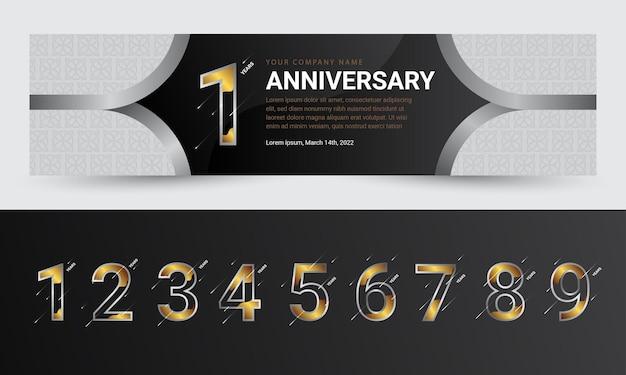 Verjaardagsviering bannerontwerp met realistische gouden cijfers premium vector