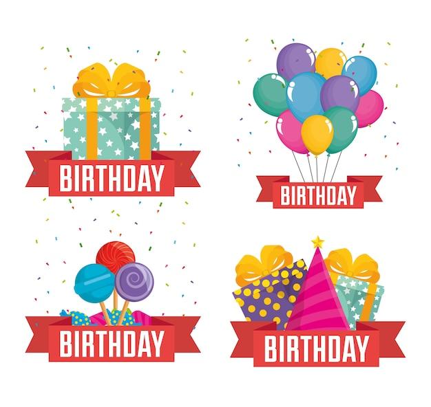 Verjaardagsviering instellen iconen vector illustratie ontwerp