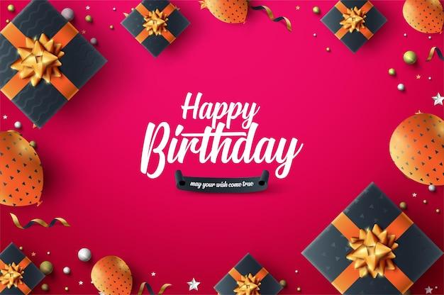 Verjaardagsviering met ballonnen en geschenkdozen op rode achtergrond