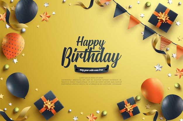Verjaardagsviering met driehoeksvlag en 3d-geschenkdoos