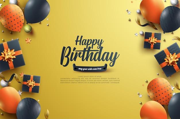 Verjaardagsviering met realistische geschenkdozen en ballonnen