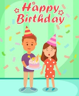 Verjaardagsviering met vrienden en confetti.