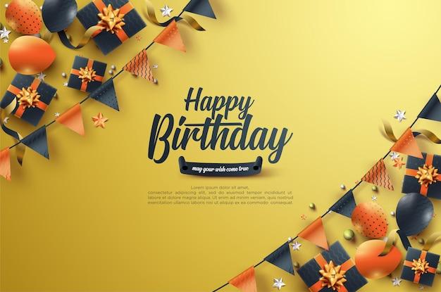 Verjaardagsviering met zwarte geschenkdoos en kleurrijke vlag