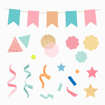 Verjaardagsviering sticker, kleurrijke glitter confetti en linten clipart vector set