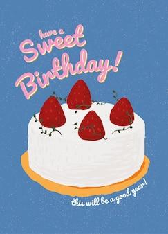 Verjaardagswenskaartsjabloon met schattige taartillustratie
