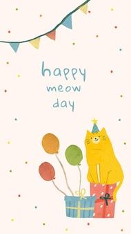Verjaardagswenssjabloon met kattenillustratie