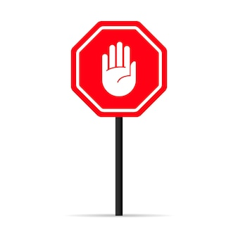 Verkeer hand stop signaalpictogram. waarschuwing verboden teken. vector op geïsoleerde witte achtergrond. eps-10.