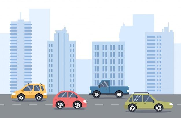 Verkeer op de weg. stadsvervoer. straat met auto's, skyline, kantoorgebouwen in de. vlakke afbeelding.