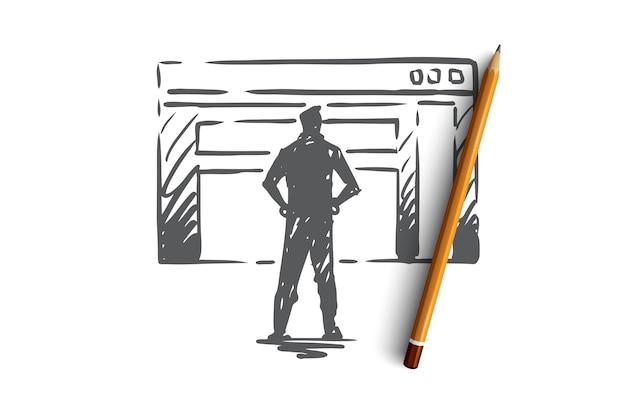 Verkeer, website, internet, technologie, digitaal concept. handgetekende manager presenteert een schets van het verkeersrapport.
