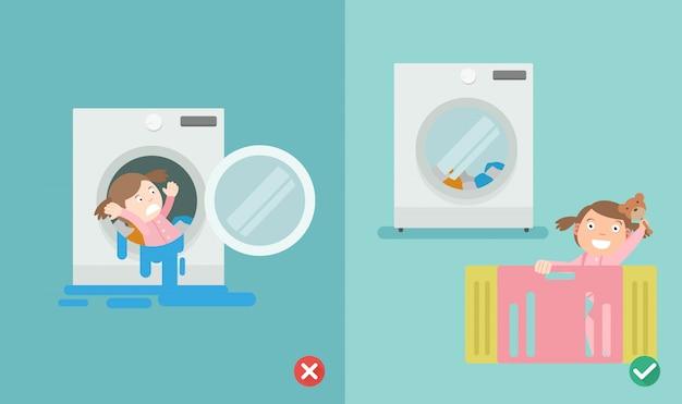 Verkeerde en juiste manier, speel niet in de wasmachine