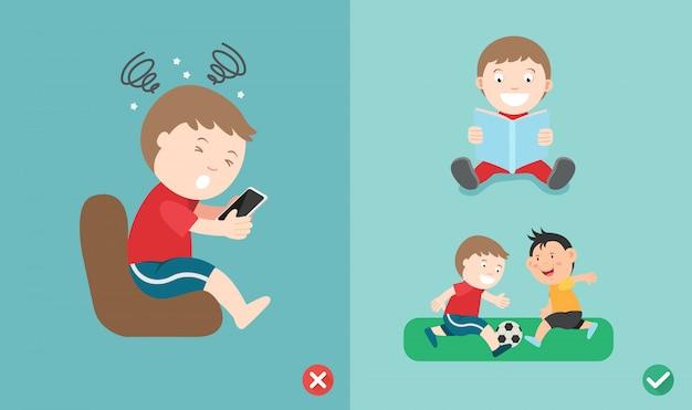 Verkeerde en juiste manier voor kinderen om geen smartphone meer te gebruiken
