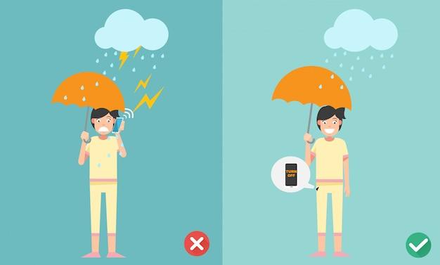 Verkeerde en juiste manieren. geen telefoongesprek voeren terwijl illustratie regent.