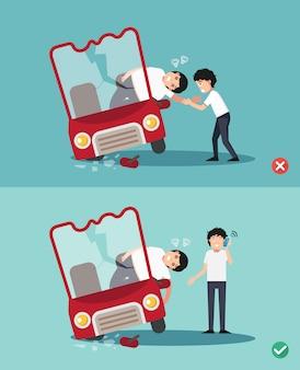Verkeerde en juiste maniereneerste hulp, illustratie