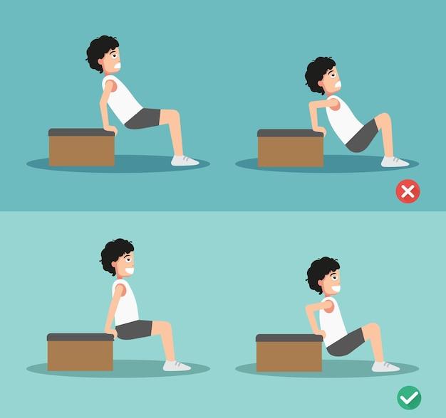 Verkeerde en juiste triceps dip houding, vectorillustratie