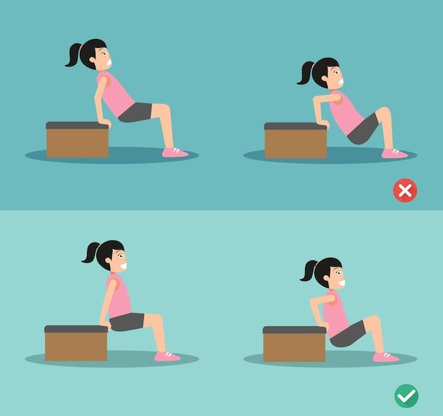 Verkeerde en juiste triceps dip-houding