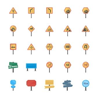 Verkeersborden en kruispunten platte vector icons pack